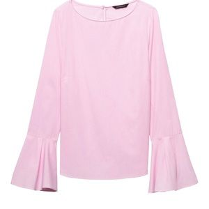 Banana Republic Pink Mini Stripe Bell Sleeve Top